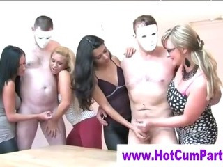 Porn Tube of Cfnm Group British Girls Handjobs Cumshots