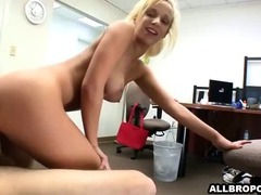 Blonde college girl fucks teacher in his office
