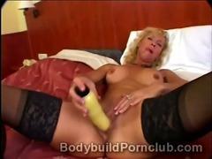 Horny mature blonde bodybuilder whore Victoria pleases her partner