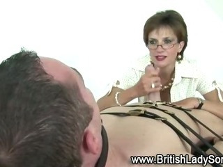 Porn Tube of Mature Stocking Brit Sonia Femdom Blowjob