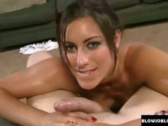 Brunette swallows big cock