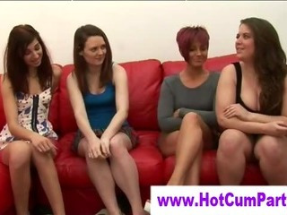Porn Tube of Cfnm British Sluts Handjob And Cumshot