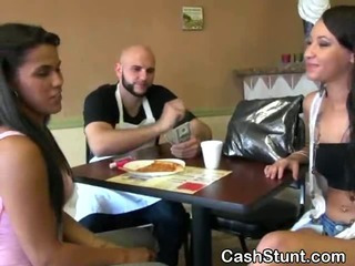 Porn Tube of Brunette Amateur Flashing Her Tits For Cash In A Diner