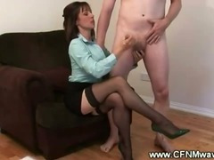 Classy clothed bimbos suck the waiters cock