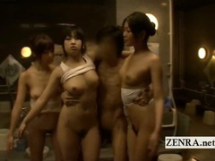 Bizarre Japan CFNM sauna ladies time freezing handjob