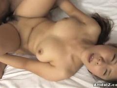 Hairy pussy Momo Aizawa riding cock hard!