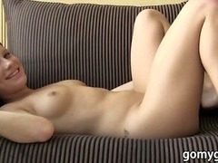 Sexy amateur girlfriend brunette filmed by boyfriend while fucked and facial