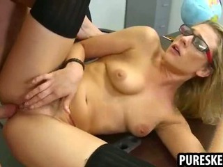 Porno Video of Foxy Blonde In Glasses Sucks And Fucks Her Teacher