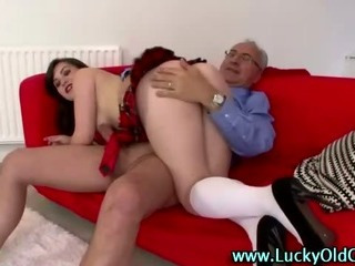 Porn Tube of Older British Guy Spanks And Fucks Girl In Miniskirt And Socks