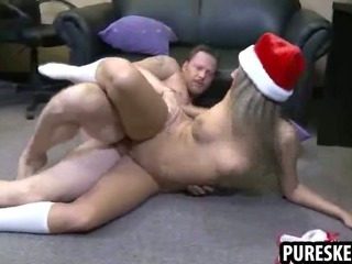 Porno Video of Blonde In Santa Hat Gets Her Tight Pussy Stuffed
