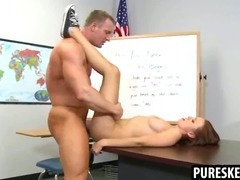 Pettie brunette schoolgirl gets her pussy pounded