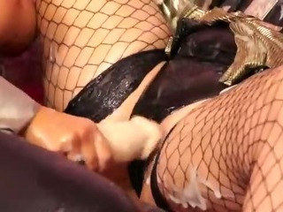 Porno Video of Jizz Squirting Strapon Used On Her Wet Lesbian Pussy