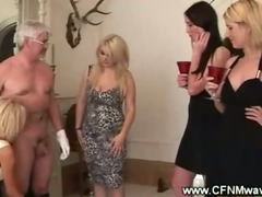 Tipsy highclass ladies groping a cock