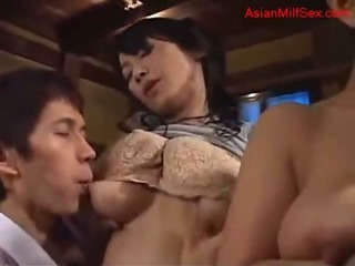 Porn Tube of 2 Busty Milfs Getting Their Nipples Sucked Pussies Licked And Fingered By 2 Young Guys In The Room