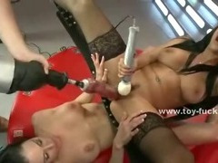Naughty librarian gets her nipples teased by two Hitachi wands while having her cunt fucked