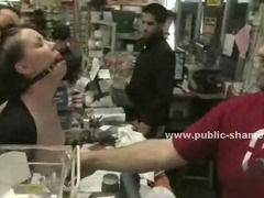 Cute brown haired woman is tied up gagged and brutally fucked by strangers in a hardware store