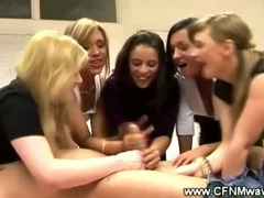 Clothed partygirls groping a guys dick