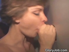 Dirty Short Haired Brunette Sucks Dick At Glory Hole