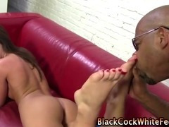 Nasty bizarre fetish slut gives footjob