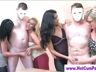 Porn Tube of Cfnm Party Girls Get To Jerking Down Hard On Mature Cock