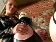 Sissy spanked by femdom