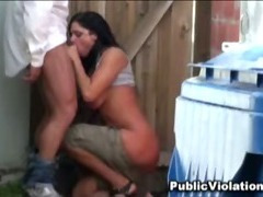 Amateur fucked beside garbage