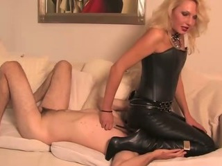 Porn Tube of Cbt Punishment W Leather Knee High Boots