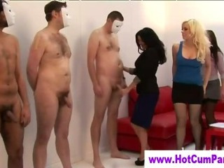 Porn Tube of Cfnm Slutty Group British Girls Handjobs Cumshots