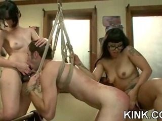 Porn Tube of Pretty Hot Babe Bound, Oiled