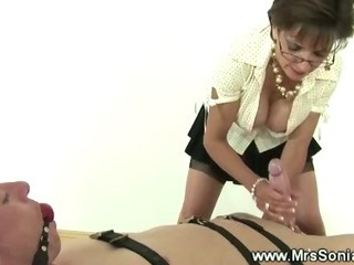 Porno Video of Mistress Jerking Off Servants Hard Cock