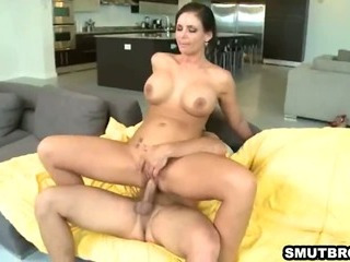 Porn Tube of Sexy Busty Brunette Honey Gets Her Pussy Pounded