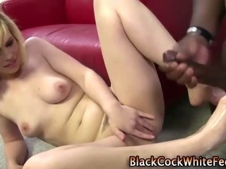 Porn Tube of Fetish Slut Interracial Footjob And Cumshot