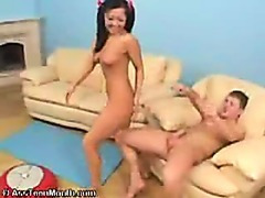 Asian teen girl sucking cock before anal sex