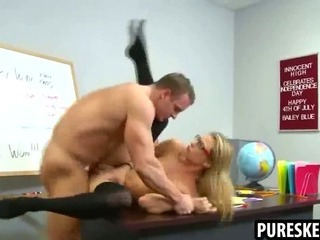 Porno Video of Blonde Schoolgirl In Glasses Getting Fucked Hard