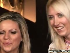 Partygirls enjoy watching a live handjob