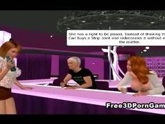 3D cartoon babes humiliating a pathetic loser