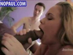 Sexy blonde sucks on massive black dick