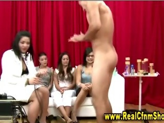 Porn Tube of Busty Cfnm Watches Masturbator