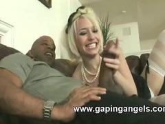 Massive ebony on blonde