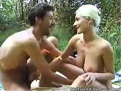 Hot Blonde Outdoor Handjob
