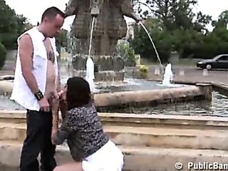 Porno Video of Public Sex Threesome By A Fountain
