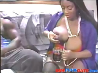 Porn Tube of Mega Fat Ebony Squirting Breast Milk On Huge Cock