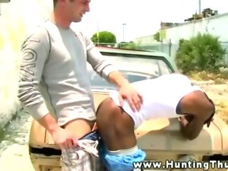 Porn Tube of Black Thug Receives White Thick Dick In His Mouth