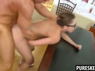 Porn Tube of Nerdy Schoolgirl In Glasses Getting Fucked Hard