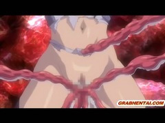 Pregnant hentai with huge boobs brutally drilled by tentacles monster