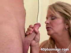 Chubby blonde wife takes young stud