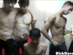 Cute college boys experiment together