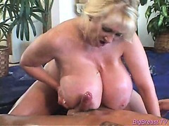 Babe with huge breasts gets hard pussy fucked deep