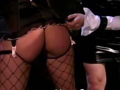 Naughty lesbian spanking scene