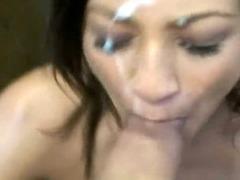 Slutty Brunette Takes Load On Her Face